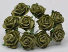 2.0cm OLIVE GREEN Mulberry Paper Roses (only flower head) (1)